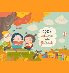 Happy children reading books in autumn park vector