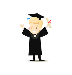 Happy graduate holds diploma in his hand vector