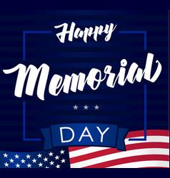 happy memorial day usa flag navy blue banner vector image