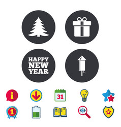 Happy new year sign christmas tree and gift box vector