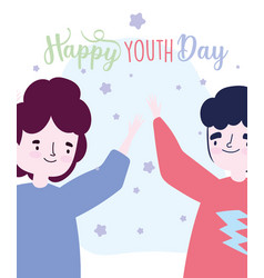 Happy youth day cartoon character two men vector