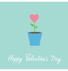 Heart flower in pot Happy Valentines Day vector image