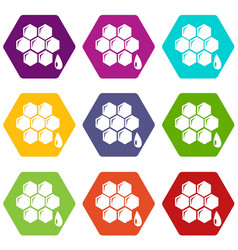 honeycomb icons set 9 vector image