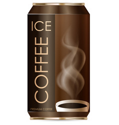 Ice coffee in aluminum can vector