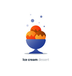 Ice cream dessert three scoops tasty flavor cool vector