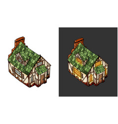 Isometric house old european mansion vector