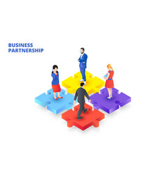 Isometric puzzle with people business vector