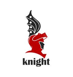 knight warrior helmet logo vector image