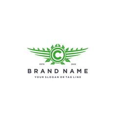 Letter c leaf wing logo design concept vector