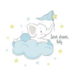 little elephant on cloud vector image