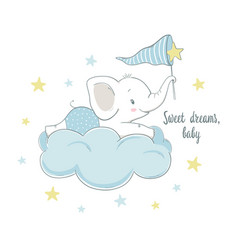 Little elephant on the cloud vector