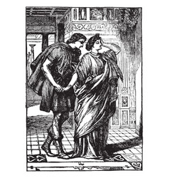 lysander and hermia vintage vector image