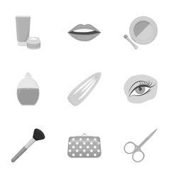 Make up set icons in monochrome style Big vector image