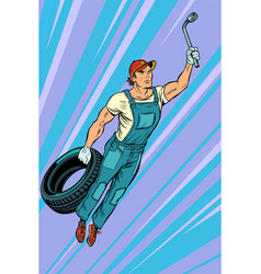 man mechanic tire flying superhero help vector image