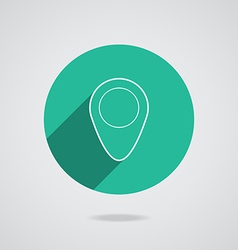 map pointer flat single white icon long shadow vector image