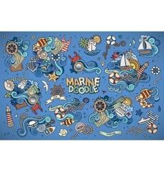 Marine nautical hand symbols and objects vector