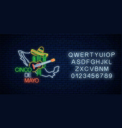 neon sinco de mayo sign with mexico map with vector image