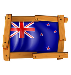 new zealand flag in wooden frame vector image