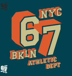 nyc bkln t-shirt print design vector image