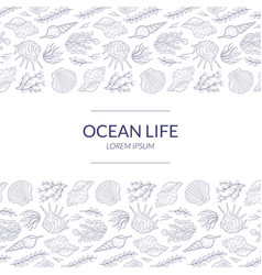 Ocean life banner template with underwater natural vector
