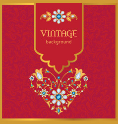Ornate vintage background in gold and red vector