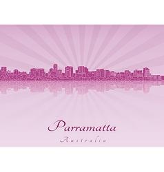 Parramatta skyline in purple radiant orchid vector
