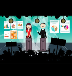 political meeting or business conference with vector image