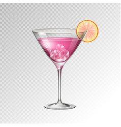 Realistic cocktail cosmopolitan glass vector