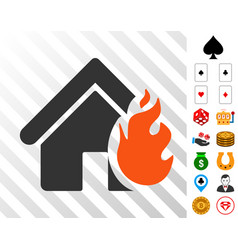 realty fire damage icon with bonus vector image