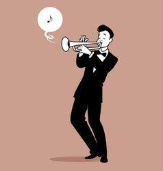 retro cartoon music trumpeter playing a song vector image