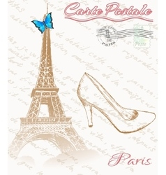 Retro poster of Paris vector image