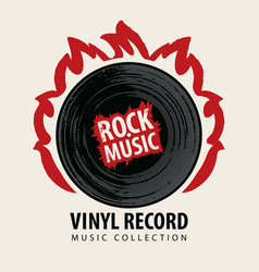 rock music poster with a vinyl record on fire vector image
