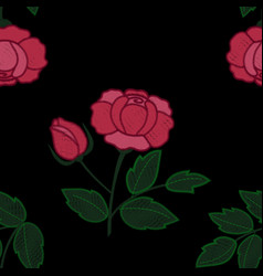 Rose embroidery seamless pattern vector