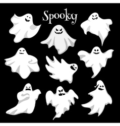 Scary white ghosts design on black background vector