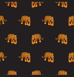seamless pattern with tigers on black vector image