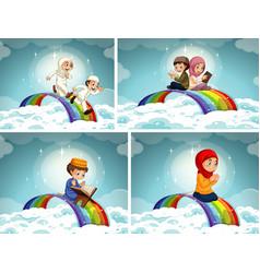 Set arab muslim boy and girl in traditional vector