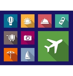 set flat travel and vacation icons vector image