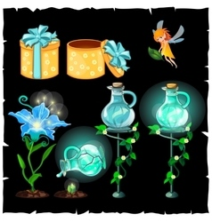 Set of magical plants and potion flasks vector