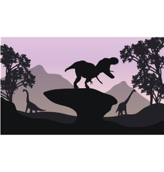 Silhouettte of baby Brachiosaurus and T-Rex vector