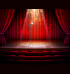 stage scene with red drapery curtains microphone vector image