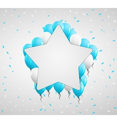 Star badge and blue balloons vector
