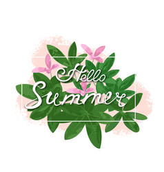summer hand lettering poster with tropical green vector image