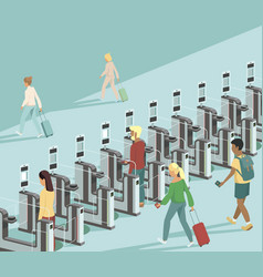 Travellers pass through automated gates vector