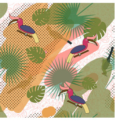 Tropic exotic multicolor pattern with birdsand vector