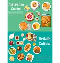 Typical dishes of british and australian cuisine vector