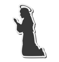 virgin mary silhouette icon vector image