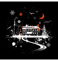 Winter night and house vector