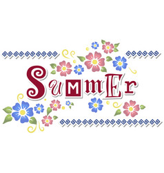 with lettering of summer with flowers vector image