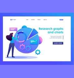 woman with graph research and charts flat 2d vector image