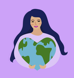 World environment day and earth day girl holding vector